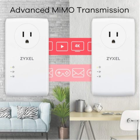 Zyxel 1800Mbps Pass-Thru Powerline Adapter